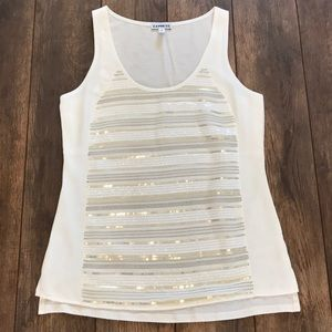Express XS White Sequence Tank Top